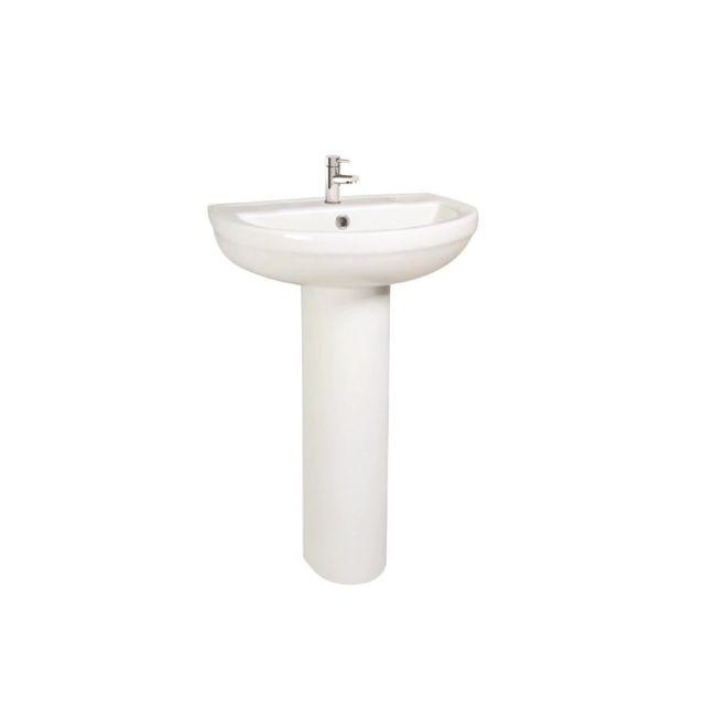UK Bathrooms Essentials Bellman Washbasin with Full Pedestal