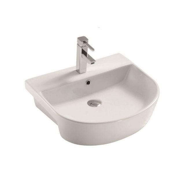 UK Bathrooms Essentials Caxton Semi Recessed Washbasin