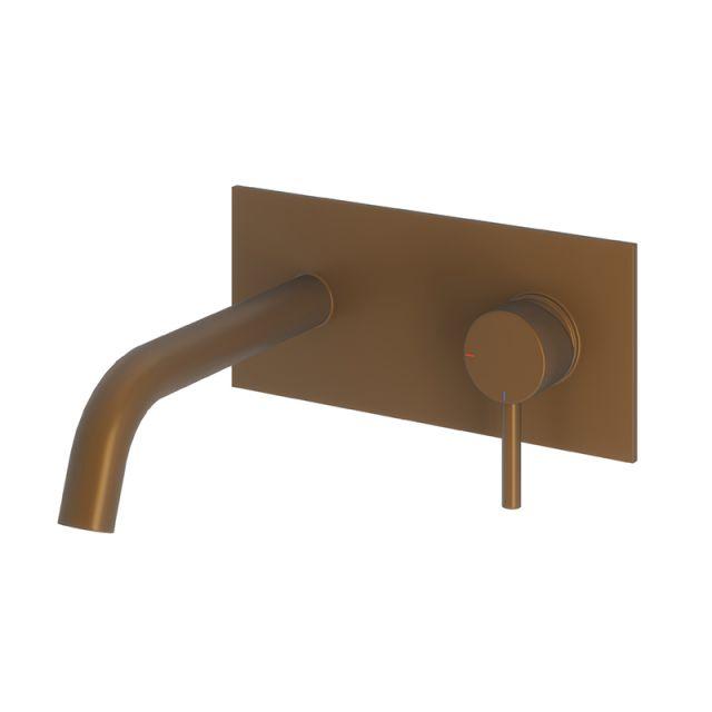 Abacus Iso Brushed Bronze Wall-mounted Basin Mixer