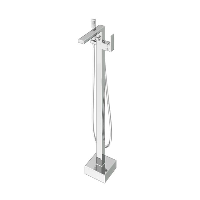 Abacus Plan Chrome Free Standing Bath Shower Mixer Tap - TBTS-26-3602