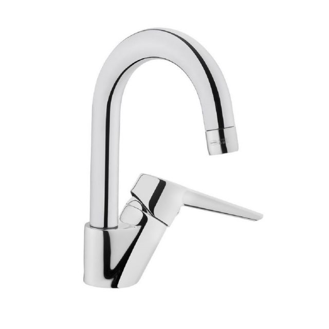 VitrA Solid S Chrome Monobloc Basin Mixer Tap with Swivel Spout - 42442