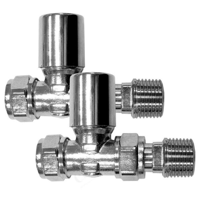 Essential Standard Straight Radiator Valves (Pair 15 mm)