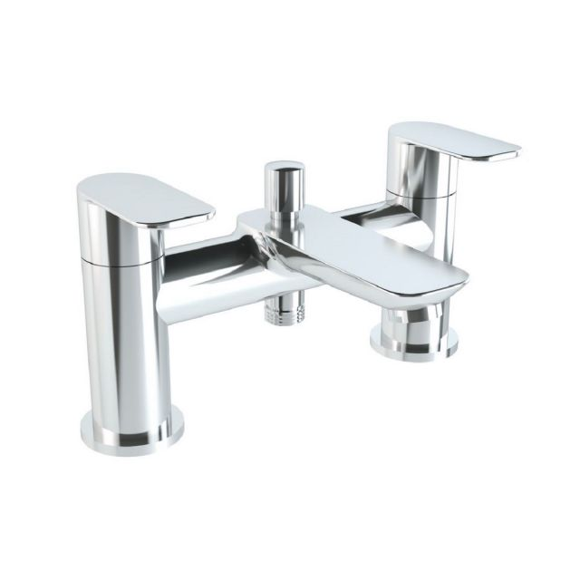 VitrA X Line Chrome 2 Tap Hole Bath Shower Mixer Tap with Hose and Handset - 42414