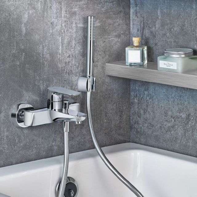 VitrA X Line Wall-mounted Chrome Bath Shower Mixer Tap Excluding Hose and Handset - 42324