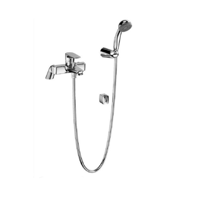 VitrA X Line Chrome Bath Shower Mixer Tap with Hose and Handset - 42401