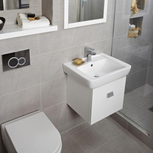 Abacus Opaz White Basin & Vanity Unit 550mm