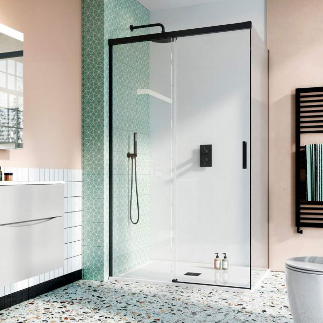 Crosswater Design 8 Matt Black Soft Close Sliding Shower Door
