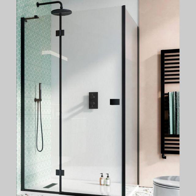 Crosswater Design 8 Matt Black Hinged Shower Door with Inline Panel