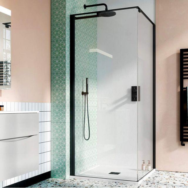 Crosswater Design 8 Matt Black Hush Pivot Shower Door with Side Panel and Tray