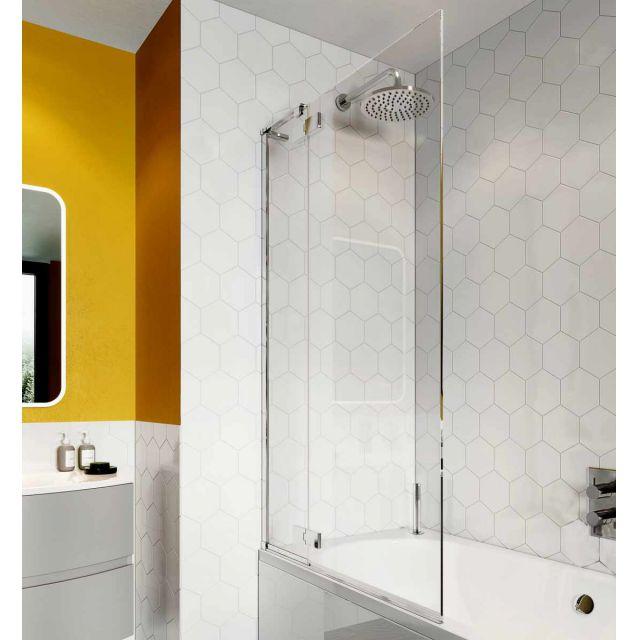 Crosswater Svelte 8 Hinged Bath Screen with Inline Panel