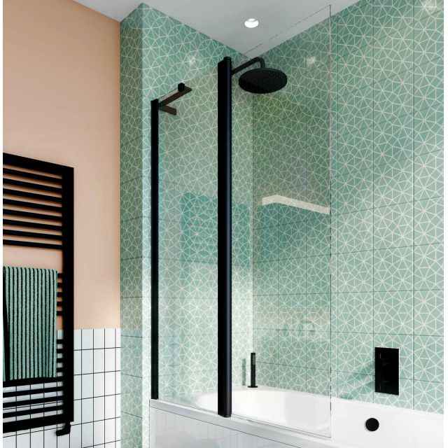 Crosswater Design 8 Matt Black Double Panel Bath Screen
