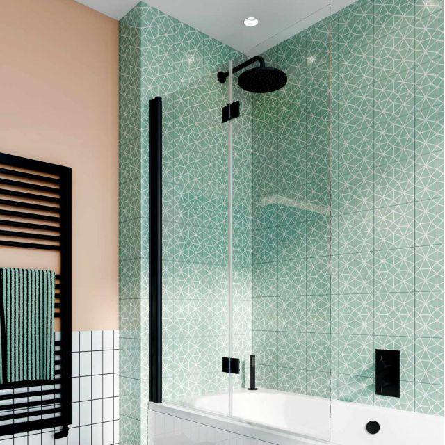 Crosswater Design 8 Matt Black Double Panel Fully Folding Bath Screen