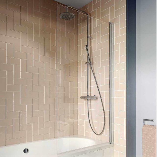 Crosswater Clear 6 Single Panel Hinged Bath Screen