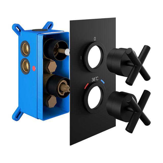 Abacus Emotion Matt Black Cross Handle Thermostatic Shower Valve