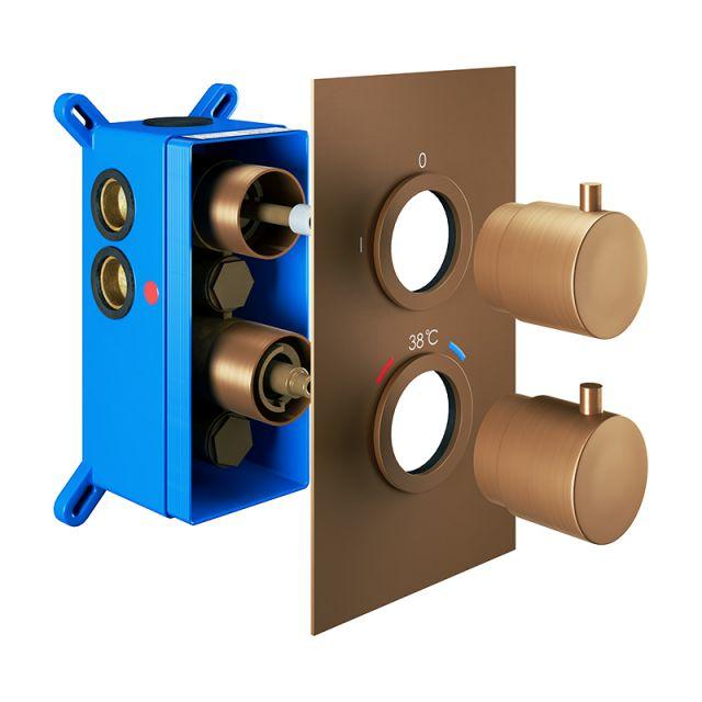 Abacus Emotion Brushed Bronze Round Thermostatic Shower Valve