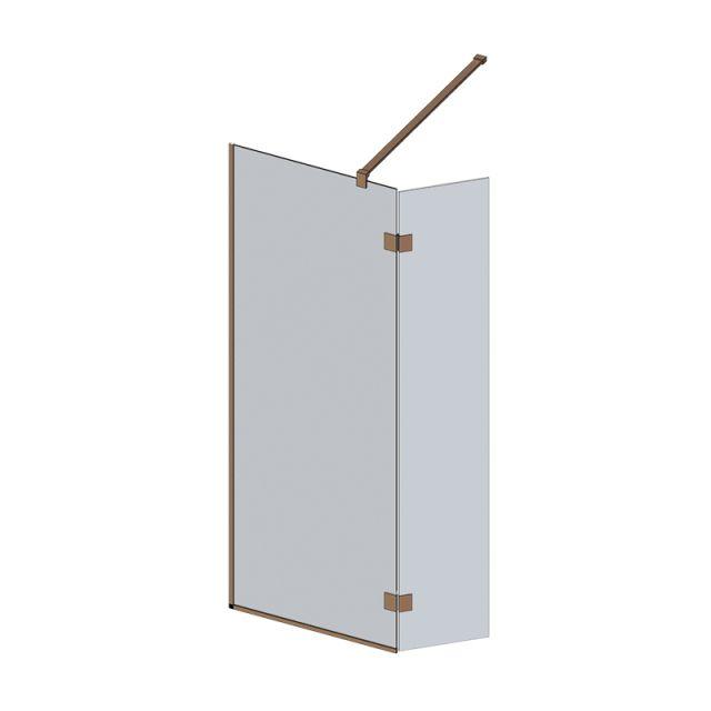 Abacus M Series Wet Room screen with return panel - Brushed Bronze Fixings