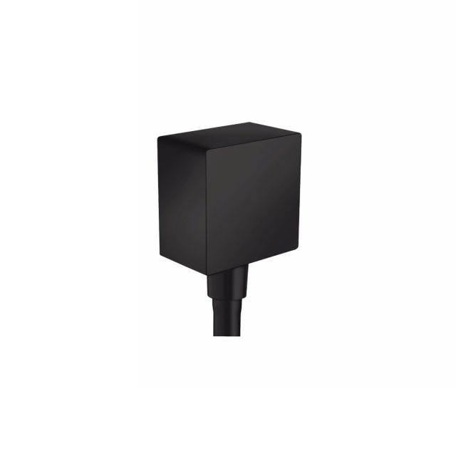 hansgrohe FixFit Square Wall Outlet with non-return valve in Matt Black
