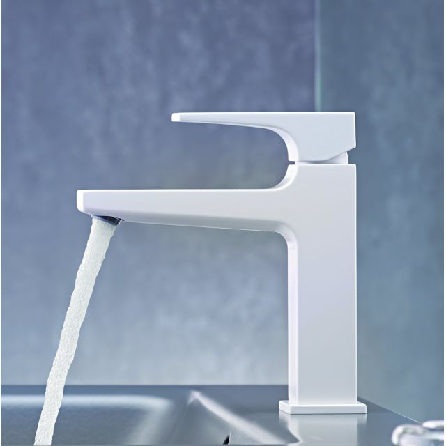 hansgrohe Metropol Single Lever Basin Mixer Tap 110 with push open waste in Matt White