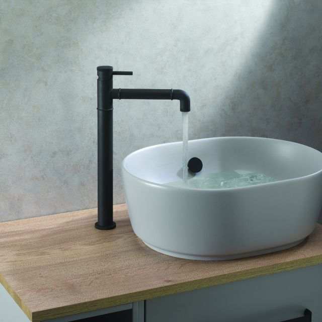 Crosswater MPRO Industrial Tall Basin Mixer Tap in Carbon Black