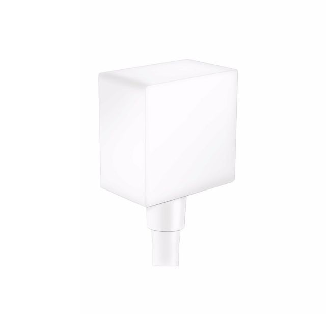 hansgrohe FixFit Square Wall Outlet with non-return valve in Matt White