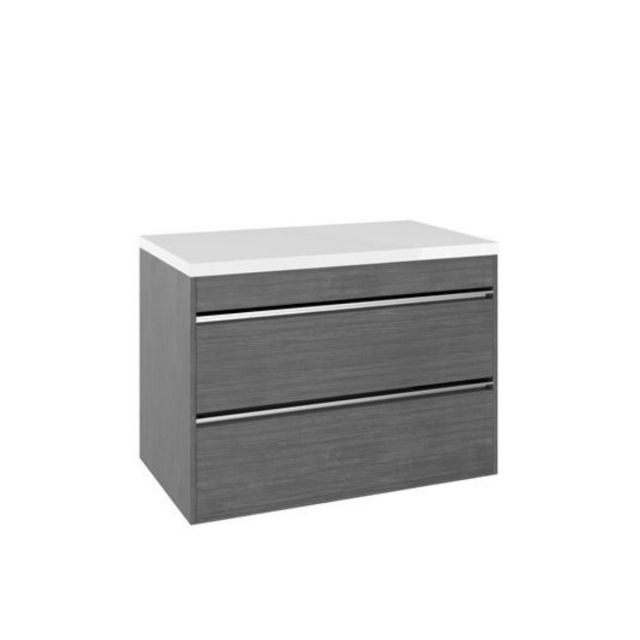 Crosswater Kai Double Drawer Vanity Unit with White Gloss Worktop