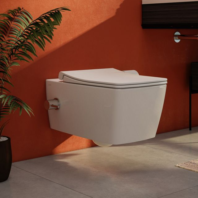 Vitra Aquacare M-Line Wall Hung Bidet Toilet with Integrated Thermostatic Stop Valve - 76720036204