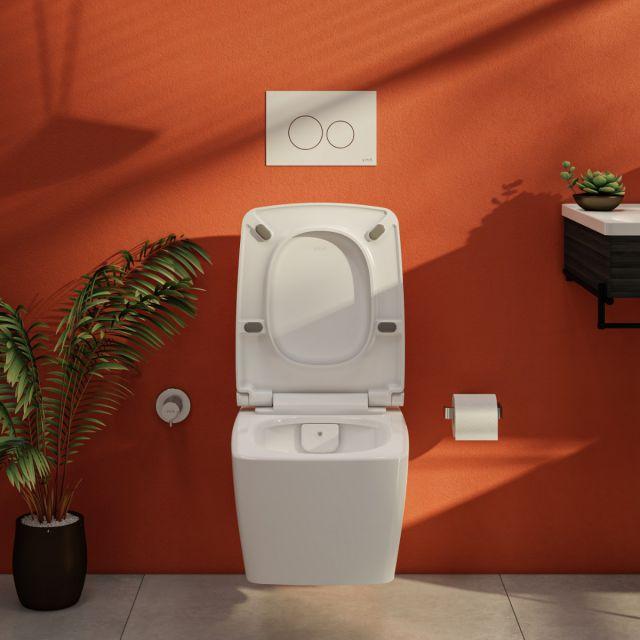 VitrA Aquacare M-Line Rimless Wall Hung Bidet Toilet with Wall Mounted Manual Valve