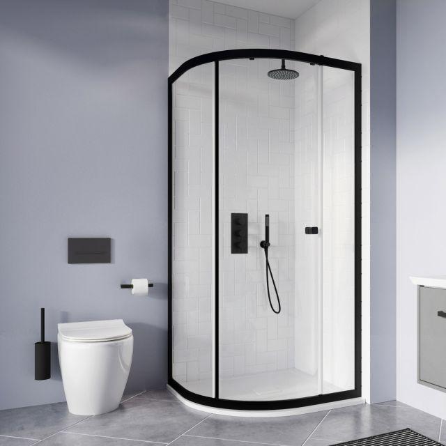Crosswater MPRO Matt Black 2 Outlet 3 Handle Shower Bundle