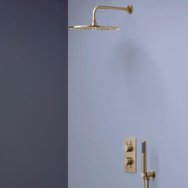 Crosswater MPRO Brushed Brass 2 Outlet 2 Handle Shower Bundle