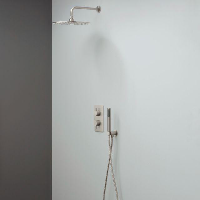 Crosswater MPRO Brushed Stainless Steel 2 Outlet 2 Handle Shower Bundle - GTLPRO1510V