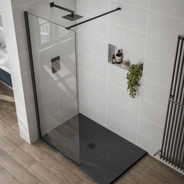 April Prestige Frameless 10mm Black Framed Shower Panel
