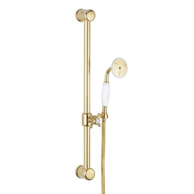 Crosswater Belgravia 600mm Slide Rail Handset Kit in Unlacquered Brass