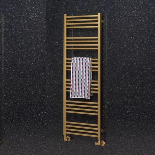 Crosswater MPRO Heated Towel Rail in Brushed Brass Effect