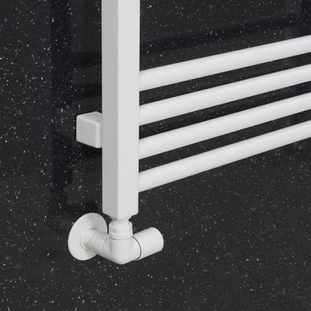 Crosswater MPRO Angled Radiator Valves - Matt White - RADTRVCMW