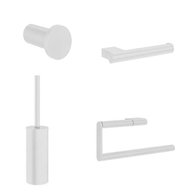 Crosswater MPRO Matt White 4 Piece Bathroom Accessory Pack - PROPACKWHITE4