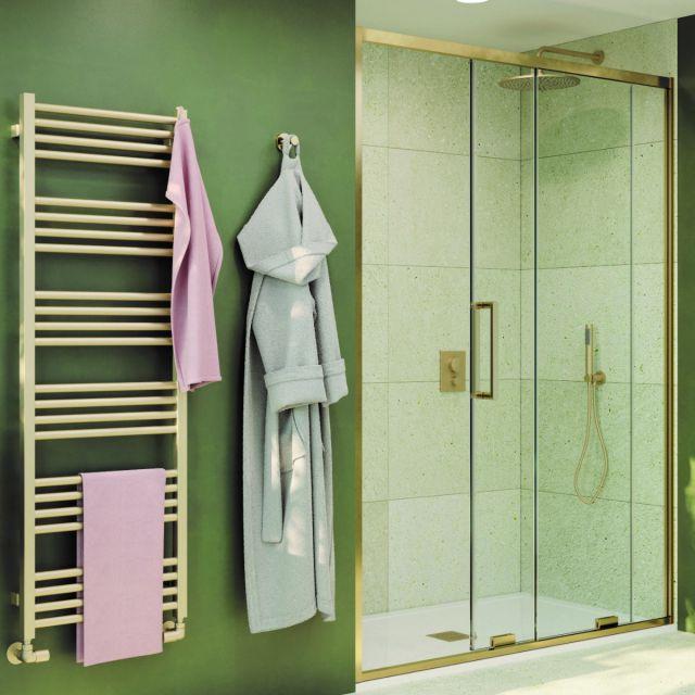 Crosswater Optix 10 Brushed Brass Single Sliding Shower Door