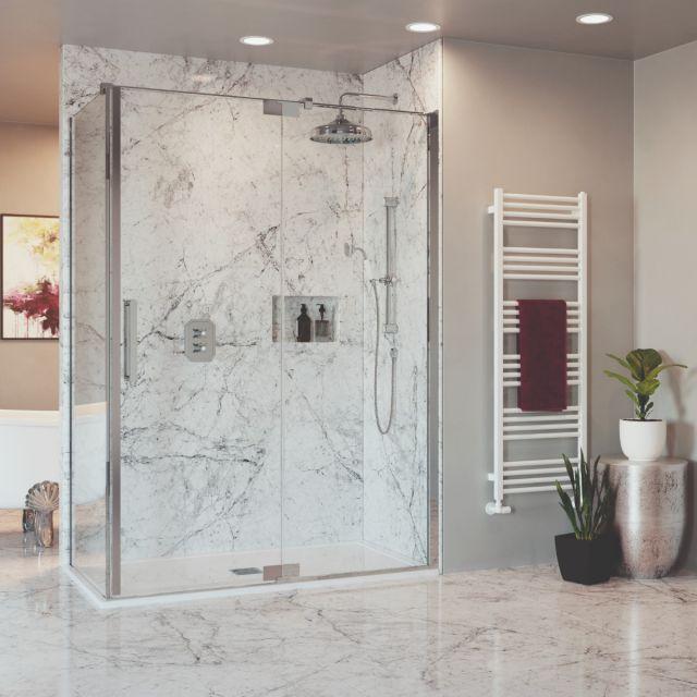 Crosswater Optix 10 Polished Stainless Steel Pivot Shower Door with Inline Panel