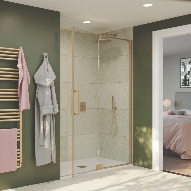 Crosswater Optix 10 Brushed Brass Pivot Shower Door with Inline Panel