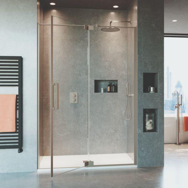Crosswater Optix 10 Brushed Stainless Steel Pivot Shower Door with Inline Panel