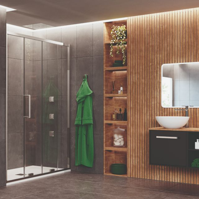Crosswater Optix 10 Polished Steel Single Sliding Shower Door