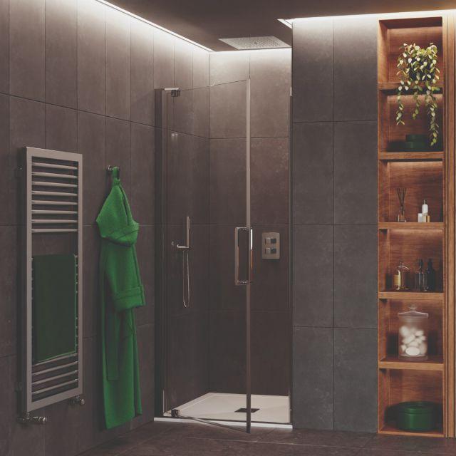 Crosswater Optix 10 Polished Stainless Steel Pivot Shower Door