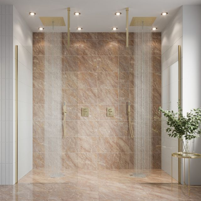 Crosswater Gallery 10 Brushed Brass Recess Double Panel Walk In Enclosure
