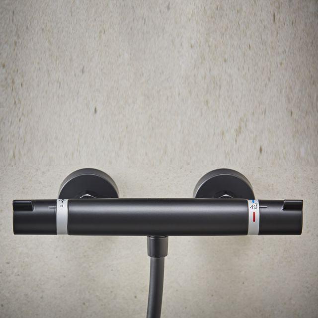 hansgrohe Ecostat Comfort Thermostatic Shower Mixer in Matt Black - 13116670