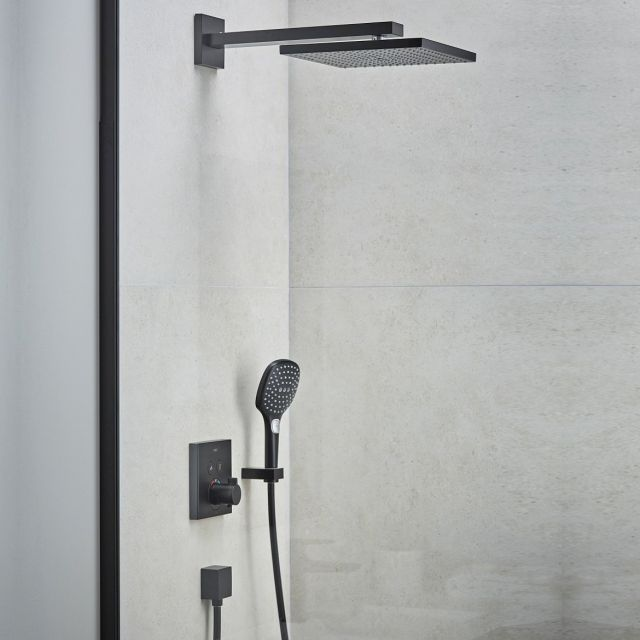hansgrohe ShowerSelect Square Shower Set with 300 Overhead and Handshower in Matt Black - 88102087