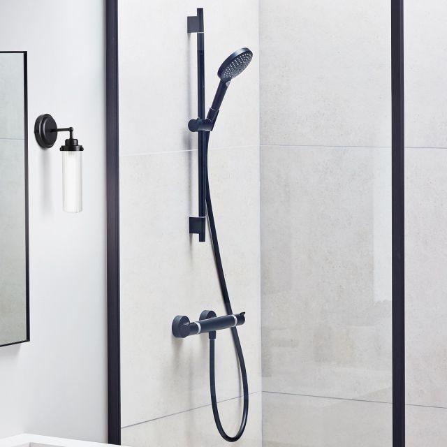 hansgrohe Ecostat Comfort Shower Set with Rail and Handset in Matt Black - 88102051