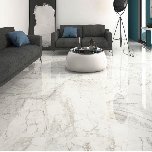 Luni Bianco Porcelain Carrara Marble affect Tile - SLT180