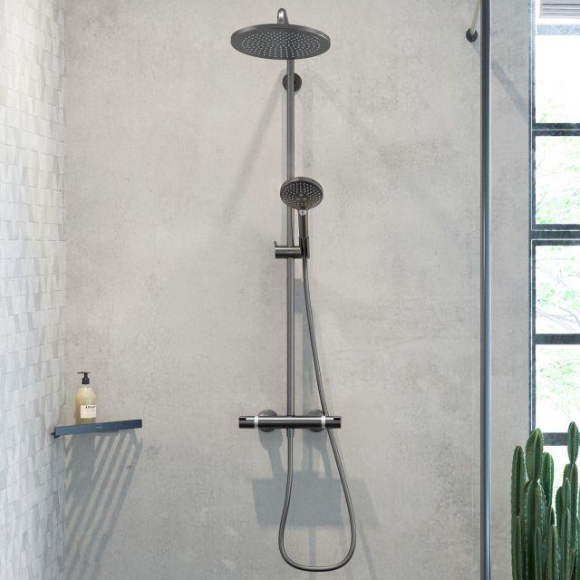 hansgrohe Raindance Select S Showerpipe 240 1Jet with PowderRain Brushed Black Chrome - 27633340
