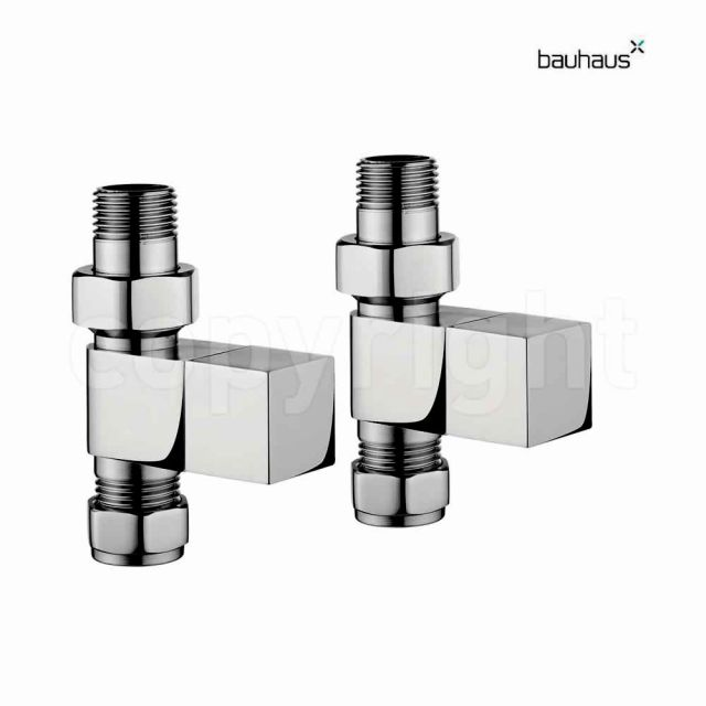 Bauhaus Square Straight Radiator Valve Set