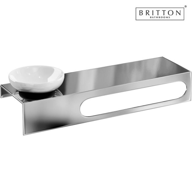 britton stainless steel shelf with towel rail and soap. Black Bedroom Furniture Sets. Home Design Ideas
