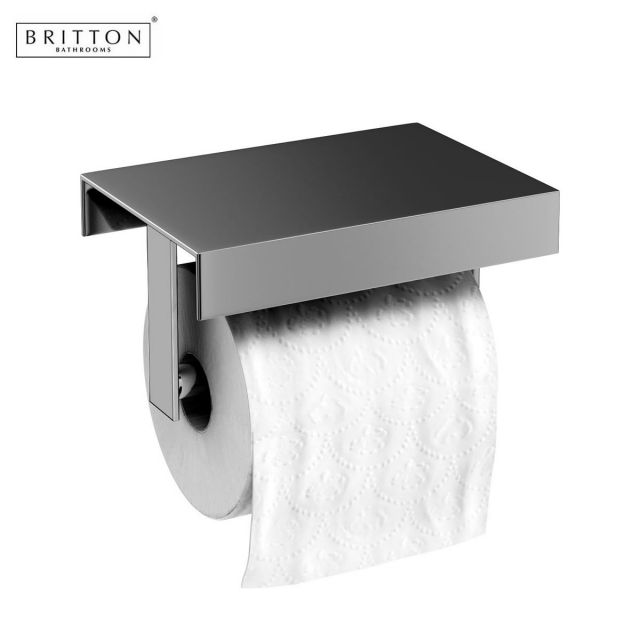 Britton stainless steel toilet roll holder uk bathrooms for Bathroom accessories toilet roll holder